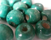 50 Malachite Wood Beads 10mmx9mm