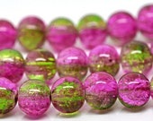 20 Pink and Green Crackle Glass Beads 8mm