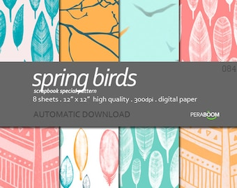 Feathers digital paper, Coral pink, Orange, teal, mint, Digital papers kit, Springs Birds 084, boho