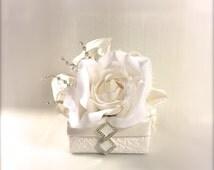 Vintage Jewelry Gift Box Ivory Gift Card Holder Pre-wrapped Gift Box, Wedding Favor, Bridesmaid Gift Tip Box, Elegant, Romantic, Rhinestone,