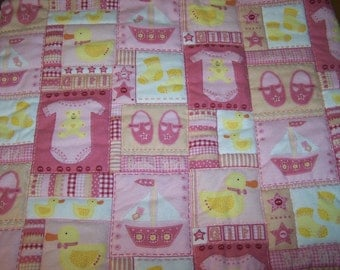 Pink Hand Quilted Flannel Baby Blanket
