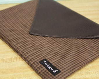 13.3 Laptop Sleeve, Leather Houndstooth Lenovo Case, Windows 8 Tablet Cover, Samsung Laptop Case, Brown Houndstooth Suede Case