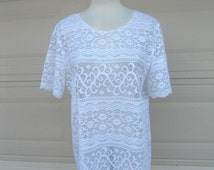 Vintage Sheer White Lace Mini Dress . Cover Up