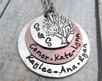 Personalized Jewelry - Personalized Family Tree Necklace - Personalized Necklace - Mom Necklace - Hand Stamped Jewelry - Tree Of Life
