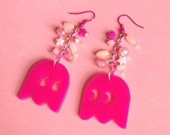 Ghost Earrings - Pinky, Retro, Gaming, Hot Pink, Geekery, 80s