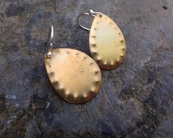 Brass Hand Stamped Dangle Teardrop Earrings