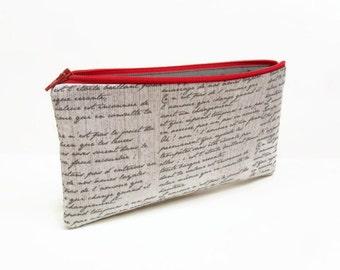 zipper pouch pencil case old script