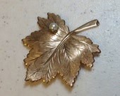 """Vintage Gold Leaf Brooch with Pearl by Sara Coventry """"Whispering Leaf"""" 2 and 3/8"""" Long and 2 and 1/8"""" Wide Previously 18 Dollars ON SALE"""