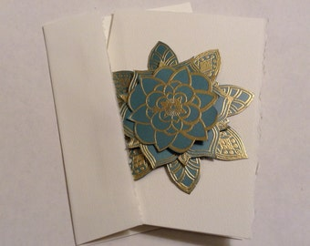 Set of 8 Blank Notecards With Embossed and Handcut Dimensional Flowers. Made to Order.