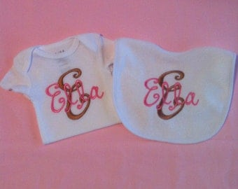 Cute Little Girls Personalized Bib and Onesie Set. Size 0-3 months