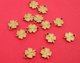 Raw Brass Stamping  Art  Deco Clover  Flower Pendant.
