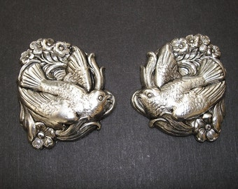 Bird and Flowers Antique Silver Ox Brass  Stamping Jewelry Findings no Hole.(2)
