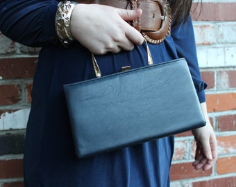 Blue and gold vintage purse