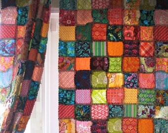 rag quilt curtain panels and crib skirt - CUSTOM - fabric TBD