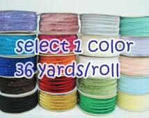 """1 roll (36 yards) Glitter Ribbon (3/8""""), Rainbow Trim, Glitter yarn, Velvet Ribbon, Metallic ribbon, Glitter yarn, Glitter Velvet Ribbon"""