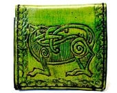 Celtic Irish Gift - Celtic Wolf Wallet - Celtic Wallet - Irish Wallet - Green Wallet - Boyfriend Gift. Holds 8 Cards, has 1 Bill Compartment