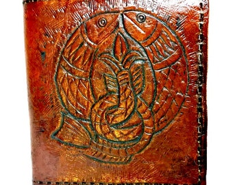 Celtic Irish Wallet - Koi Fish Art - Pisces - Fish - Celtic Irish Gift - Personalized Wallet - Monogram. Holds 8 cards, 1 bill compartment