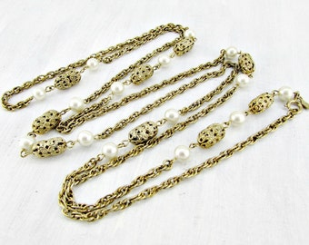 Vintage Long Pearl Necklace, Designer SARAH COVENTRY Necklace, Gold Filigree Beads Chain Necklace, Statement Necklace, 1970s Costume Jewelry