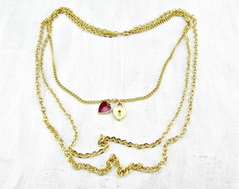 Vintage Gold Charm Necklace, Red Heart Lock Charms, Multi-Strand Necklace, Gold Layered Chain Necklace, 1970s Retro Modern Romantic Jewelry