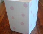 Wastebasket-Wooden-White with Light Pink Polka Dots-More Color Variations Available