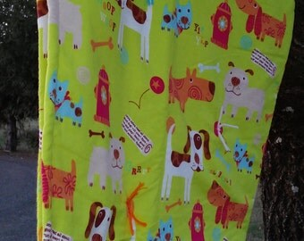 """Baby Blanket Tie Quilt...hand made...Dog...Puppy...Puppy Paws...infant blanket...security blanket...approx. 36"""" x 40"""""""