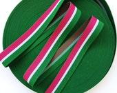 "1 1/2"" Green, White, Dark Pink Stripes Stretch Elastic Band"
