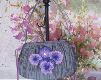Embellished Purse, Pansy Ribbon Purse, Rose Ribbon Flowers, Pink and Lavender Flowers on Silver, Handmade, Ribbon Rosettes,Antique Button