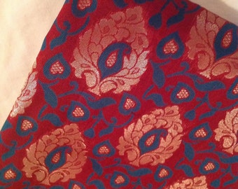 Half yard  of Indian silk brocade fabric in red,green  and gold