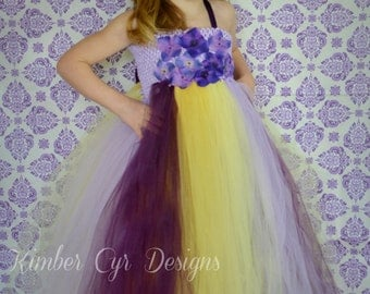 LINED TOP-Yellows and Purple Fade Wedding dress--customize