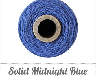 SALE 100% Cotton Twine Midnight Bakers Twine The Twinery 240 Yard Spool Solid Midnight Blue Twine