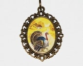 Turkey Necklace, Thanksgiving Jewelry, Farm, Country, Oval Pendant
