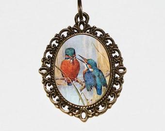 Kingfishers Necklace, Bird Jewelry, Oval Pendant