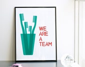 NEW We are a team (4 family). Mother's day print. Emerald and watermelon. Screenprint A3 or 11.7 x 15.7 in.