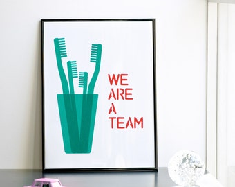 We Are a Team (4 family), Mother's Day Print, Emerald and Watermelon Print, Handmade Print, Family Print, A3 Poster, 11.7 x 15.7 in.