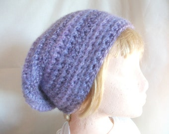 Purple Chunky Slouchy Beanie Hat, Hand Crocheted, Fashion Accessories for Men or Women. Winter Warmers
