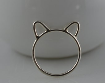 Sterling Silver Cat Ring - Silver Cat Ears Ring