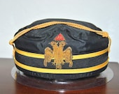 Vintage Masonic Hat 32nd Degree (32SJC) Scottish Rite Cap Consistory Mason Hat Provenance Signed