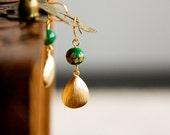 Drop Earrings Floral Green Bead Teardrop Earrings Japanese Inspired Eastern Fashion - E270