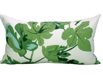 Fig Leaf lumbar pillow cover in Faded on Hemp
