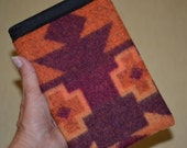 Kindle Voyage Sleeve - earth tone rust and purple WOOL - voyage slip sleeve - one of a kind