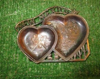 NEW MEXICO Brass Heart shaped ashtray Vintage 1960s decorative travel souvenir kitschy retro Navajo Taos Carlsbad Caverns