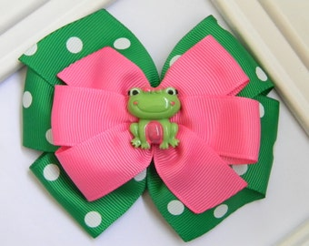 Frog Hair Bow -  Frog Pinwheel Bow