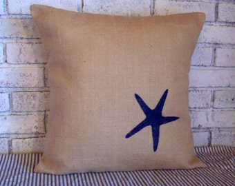 Starfish Pillow Cover - Seastar Pillow - Burlap Beach Pillow - Decorative Pillow - 16 x 16 to 20 x 20 - Color Choice - Nautical Decor