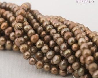 fresh water pearl potato 4-5mm beige copper full strand or half strand | genuine cultured freshwater pearls | wholesale price