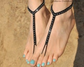 Foot Jewelry- Beach Wedding Sandals- Barefoot Sandals- Footless Sandals- Barefoot Wedding Sandals- Bridesmaid Gift- Beaded Sandal Valentines