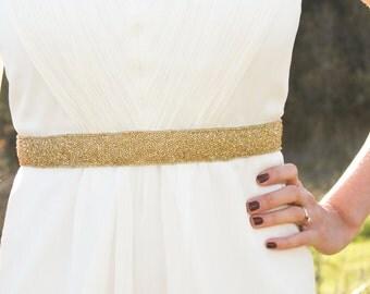 DAKOTA GOLD - Beaded Bridal Sash, Wedding Belt