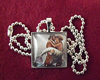 Silver Pendant Necklace,  Mermaid and Pirate Image Necklace,  Womens Gift  Handmade