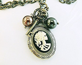 Bronze Cameo Locket Necklace,   Gothic Lolita Cameo With Pearls And Charms  Womens Gift Handmade