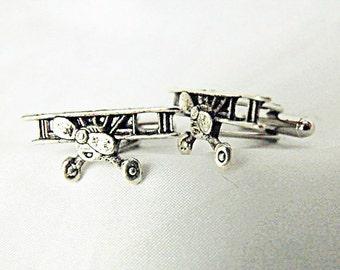 Mens Cufflinks,  Silver Airplane Or Biplane  Mens Accessories  Handmade