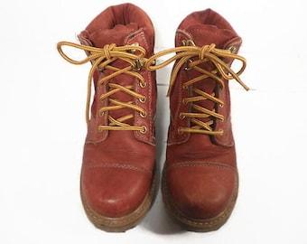 Vintage FRONTIER Rust Brown Leather Work / Sport Boots, Wm's 7